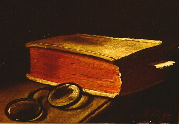 Nature morte au livre et aux lunettes, François Bonvin, 1872.