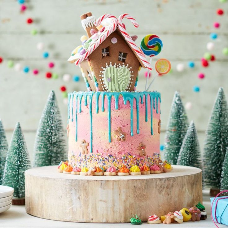 How to Make a Hansel and Gretel Cake #hansel #gretel #colourful #crazy #christmas #cake #drip #buttercream #gingerbread #baking #decorating #showstopper #festive