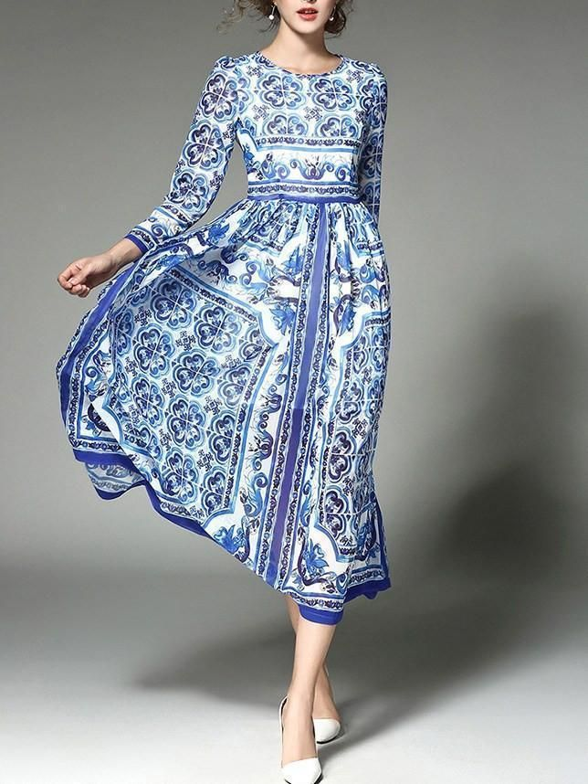 6bca282bfe3 Pattern Print Occasion Causal/Office Material Chiffon Style Maxi Dress  Color Blue Size S,M,L,XL,2XL