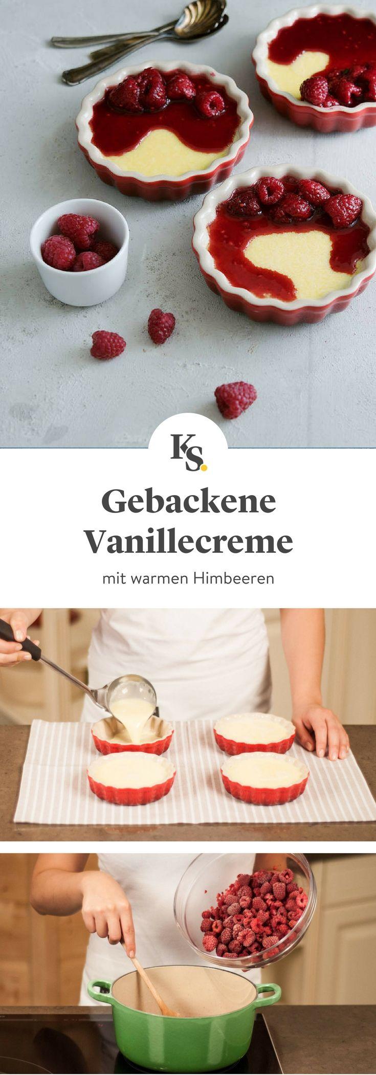 #pudding #dessert #himbeeren Fruchtiges Rezept für gebackene Vanillecreme mit warmen Himbeeren. Die Schritt-für-Schritt Anleitung zeigt dir genau, wie du dieses Dessert für deine Gäste zubereitest.