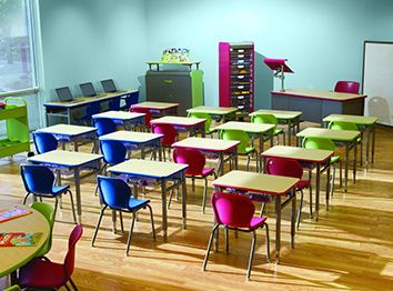 Classroom Furniture I would LOVE these bright desks in