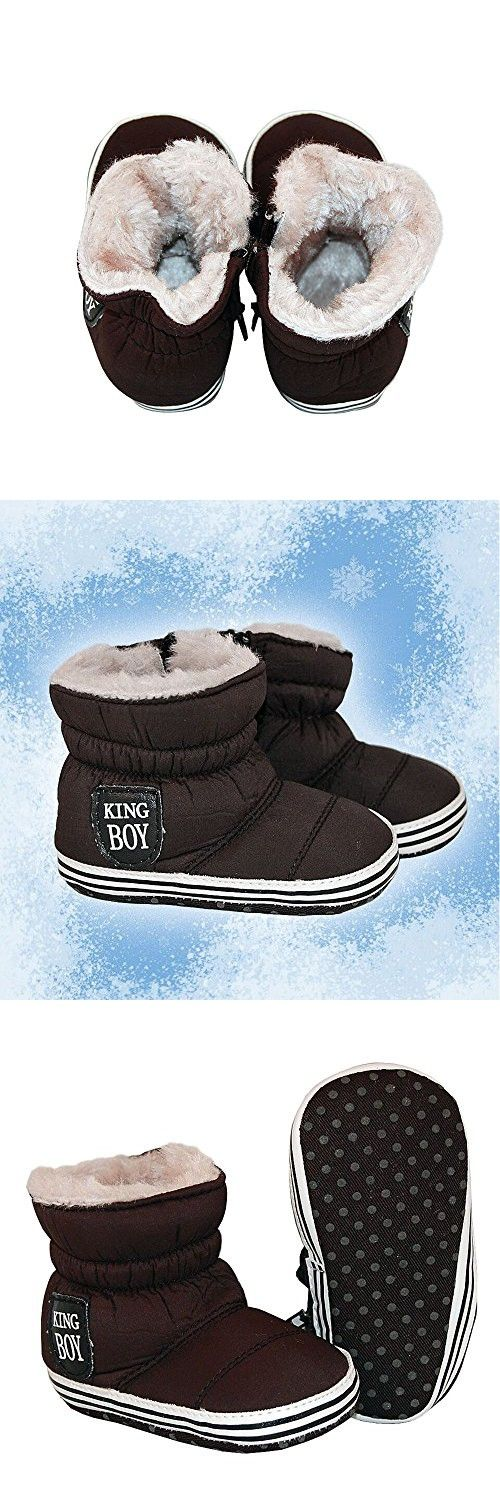 Adorable Baby Booties - Nylon Faux Fur Zip Up Crib Shoes Soft Winter Boots - Black (6-12 Months)