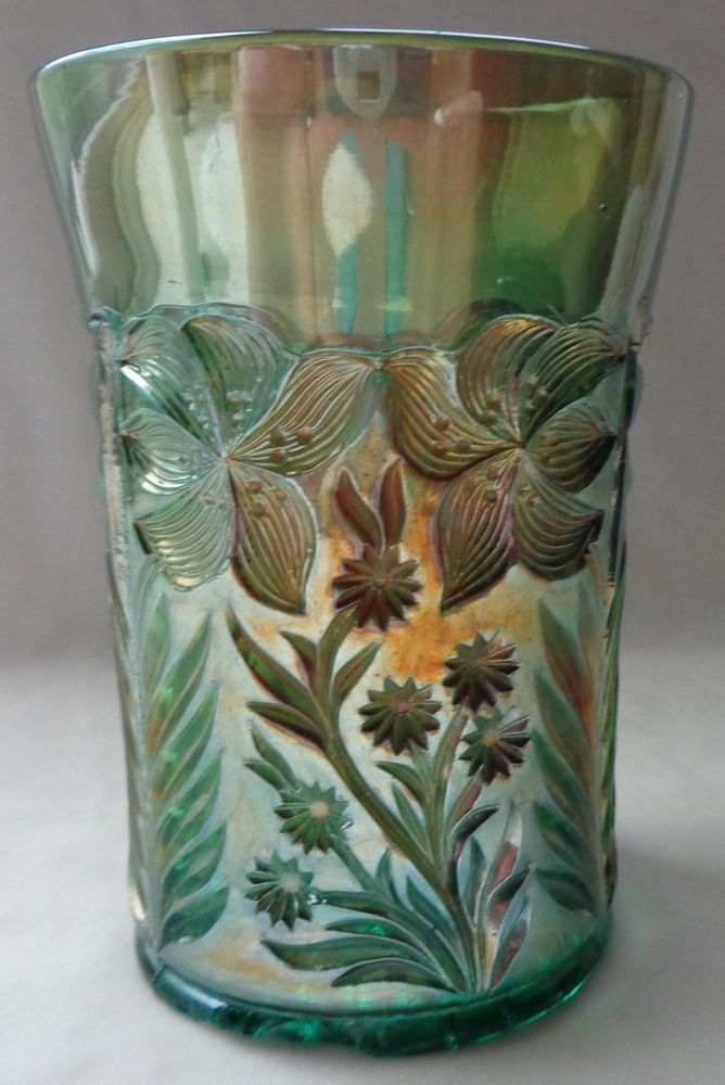 Antique Riihimaki Finland Tiger Lily Teal Carnival Glass Tumbler color: Helios Riihimaki's Tiger Lily differs in that is has a collar base. Imperial's doesn't