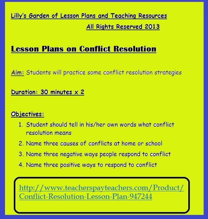 #CONFLICTRESOLUTION http://www.teacherspayteachers.com/Product/Conflict-Resolution-Lesson-Plan-947244