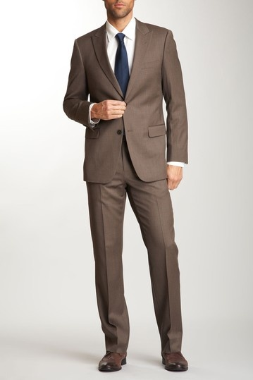 Brown suit, navy tie. Think the groomsmen would be up for it ...