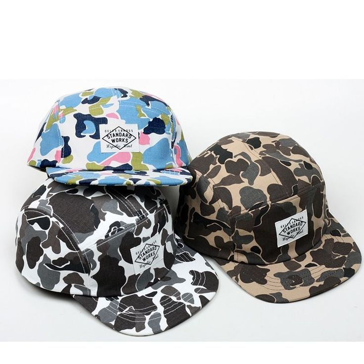 New Color Camo  Design 5 Panel Camp Cap Street Fashion Flat Peak Hat CTC1 #Unbranded #CampCap