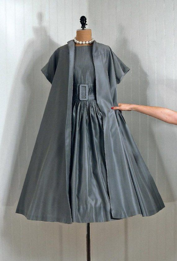 1950's Vintage Claudia Young.  Silver-gray silk backless cocktail dress and matching swing coat.