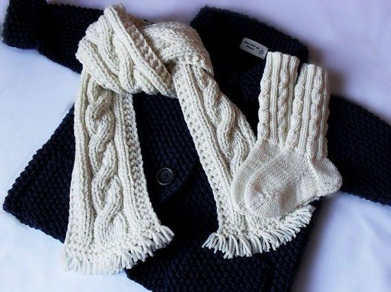 Kinderen Hand breien Merino wol trui sjaal sokken Set door Pilland