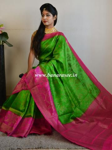 91942366ec0498 Banarasee Pure Handloom Dupion Silk Sari With Zari Jaal Design   Contrast  Blouse-Green