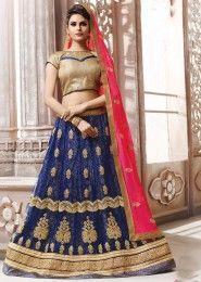 Wedding Wear Neavy Blue Net Heavy Embroidery Work Lehenga Choli