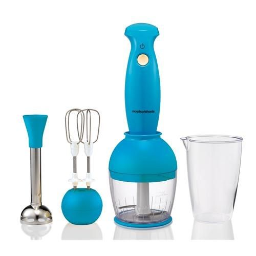Morphy Richards 48545 hand blender with a funky blue exterior. Great for making soups and smoothies! #appliancesdirect #blendit