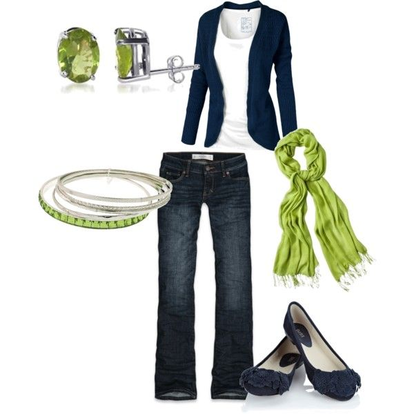 LOVE this outfit!!!  spring outfits with scarve and flats | Spring Outfits | blue & green | Fashionista Trends