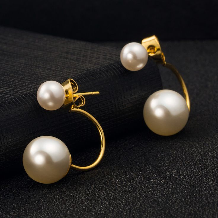 2015 New Design Fashion Accessory Jewelry Hot Selling Double Side Shining Pearl Stud Earrings For Women Patry Jewelry