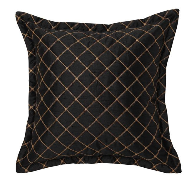 Davinci Edinborough 41x41cm Filled Cushion Black and Gold