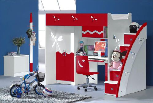RED KIDS BUNK BED, DESK, WARDROBE & 5-DRAWER STAIRS (POSITION ON EITHER SIDE)