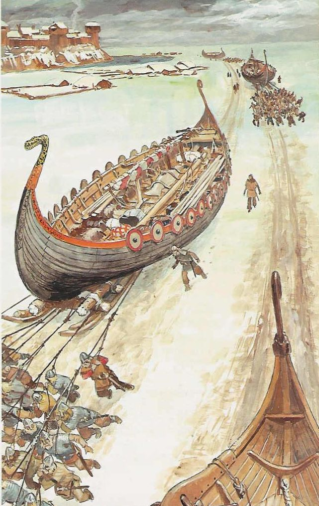 The Vikings had the Know-How to readily move their longships. They would do this in order to repair them or move the ships between rivers.