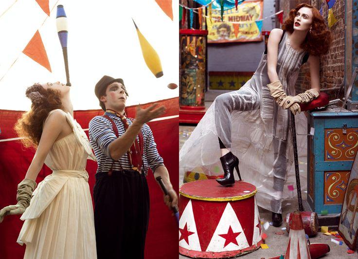 Circus: 2007 Karen Elson Bi, Circus Shoots, Italian Vogue, Circus Ideas, Steven Meisel, Earth Circus Theme April, Circus Carnivals, Fashion Photography, Circus Stories