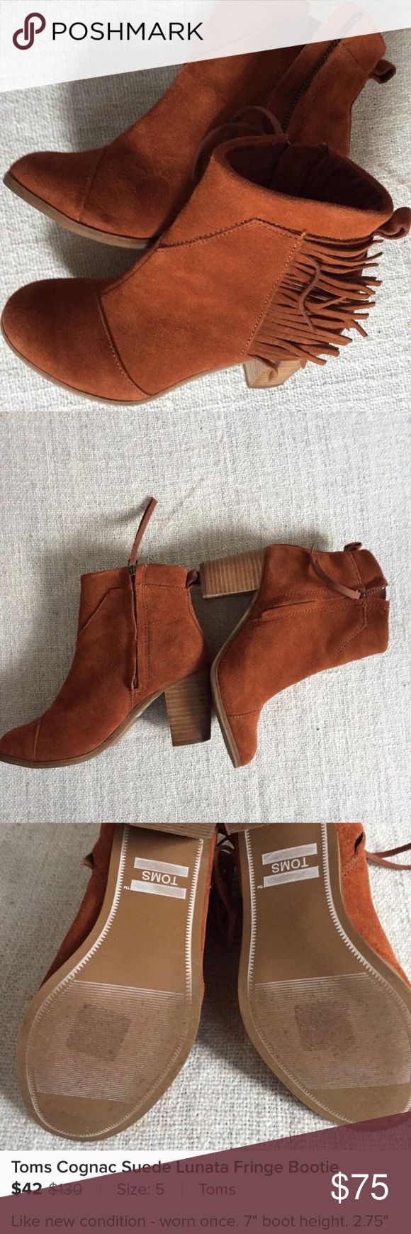 """Toms Cognac Suede Lunata Fringe Ankle Boot Hard to find boho inspired Toms suede bootie. These have been worn once. They have had waterproofing treatment applied. The boots come with Toms dust bag for storage. Size 5. 7"""" Boot Height. 2.5 """" stacked heel. No scuffs. Excellent condition. I have shoe shop waterproof all of my boots. Toms Shoes Ankle Boots & Booties"""