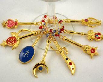 "Wine Charms Set of 8 ""Sailor Moon"" Inspired  Handmade Swarovski Crystal- Geek, Video Game, Gamer,Wedding Birthday Party"