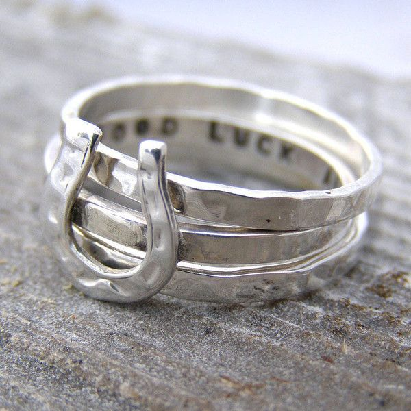 Soremi Personalised Horse Shoe Stacking Ring ($71) ❤ liked on Polyvore featuring jewelry, rings, horse ring, sterling silver rings, stacking rings jewelry, sterling silver horse jewelry and stackable rings