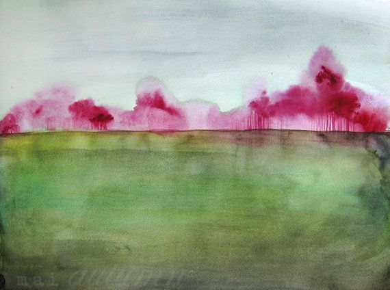 35% Off Sale - Watercolor Painting - Trees in Art - Landscape Painting Print - Grace - 8x10 Giclee Print - Country Field Magenta Green Blue