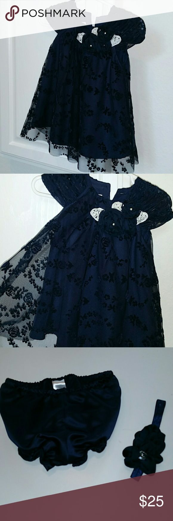 Baby girl Holiday dress 9 month Gorgeous, navy dress. Perfect for holidays, fancy wedding, church. Loved it! I think it could work for 6-9 months. Brand: Pippa & Julie. Includes coordinating headband and bloomers with ruffle legs. Worn once pippa & julie Dresses