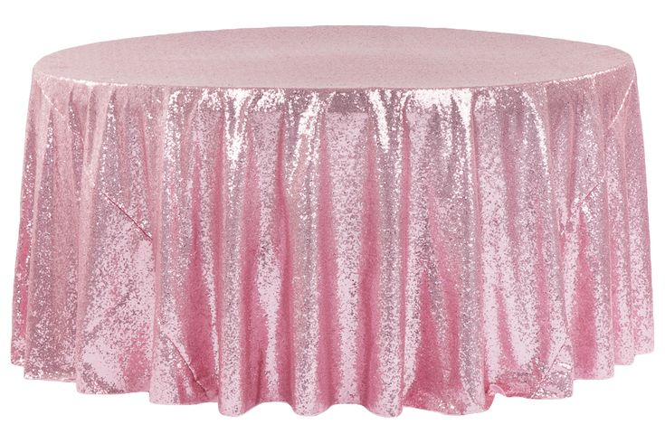 "Glitz Sequins 120"" Round Tablecloth - Pink"