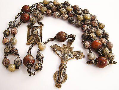 Colonial Spanish Handmade Bronze Rosary in Leopardskin and Brecciated Jasper