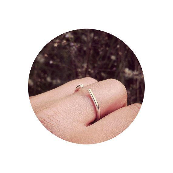 Anneau unique en argent Sterling, perles Swarovski blanc, bague de fiançailles, cadeau d'anniversaire, anneaux pour lui, idées cadeaux, cadeaux pour elle, l'amour