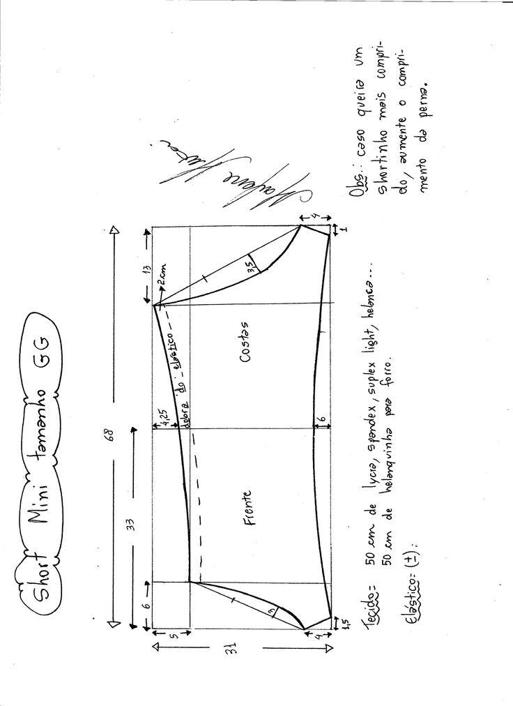 Short de malha | molde, corte e costura – Marlene Mukai.                                                                                                                                Um shortinho que pode ser usado como a parte de baixo de um biquini ou mesmo calcinha se feito com tecido de lingerie. Segue esquema de modelagem do PP ao EGG.
