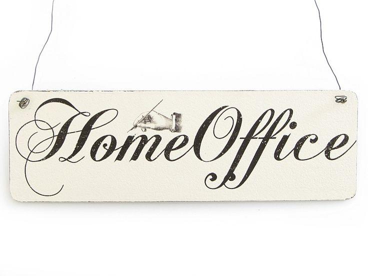 Holzschild Vintage Schild HOME OFFICE Shabby Büro von Interluxe via dawanda.com