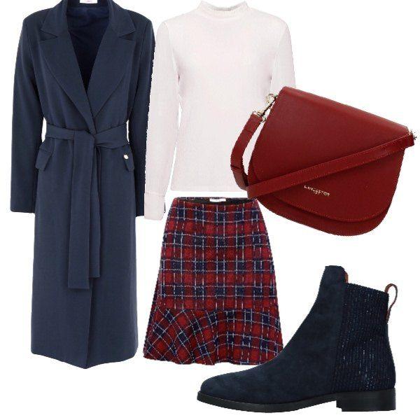 063c219547a7e1 Look con gonna scozzese nei toni del blu e del rosso, immancabile durante  il periodo natalizio