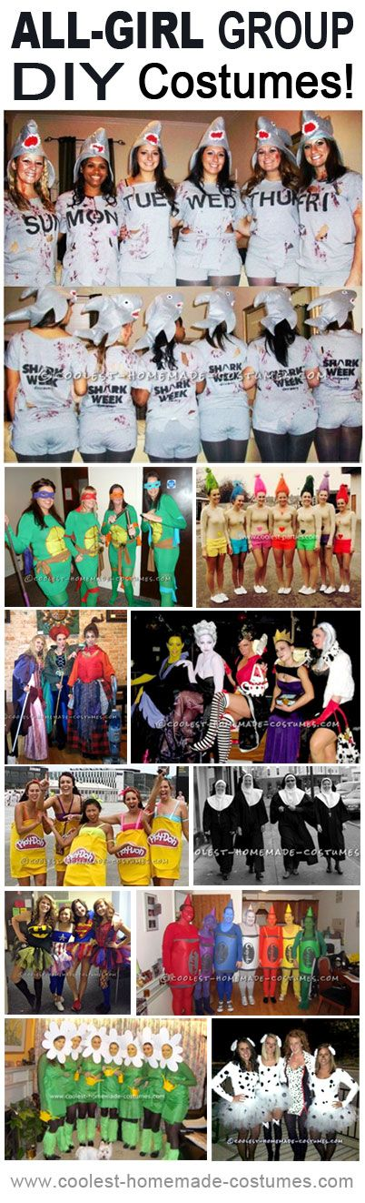#DIY All-Girl Group #Costumes (great for those girls who prefer original and funny over provocative homemade costumes) #Halloween