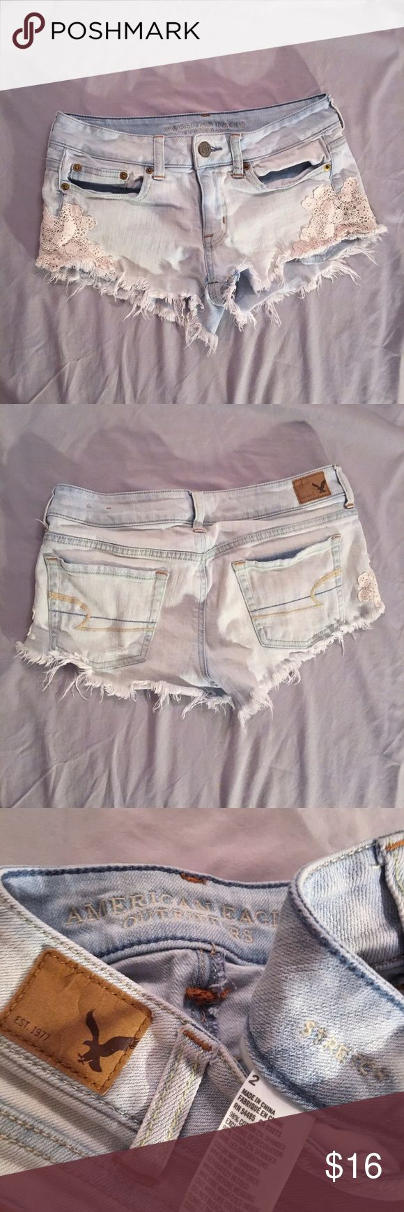 💍 American Eagle Denim Lace Shorts Brand: American Eagle Outfitters (AEO, AE, Aerie) Size: 2 (Stretch, could fit up) Color: Light Wash, White Style: Low-Rise Shorts with lace detailing Condition: Washed once, worn once to model Retail: $49.95 + Tax American Eagle Outfitters Shorts Jean Shorts