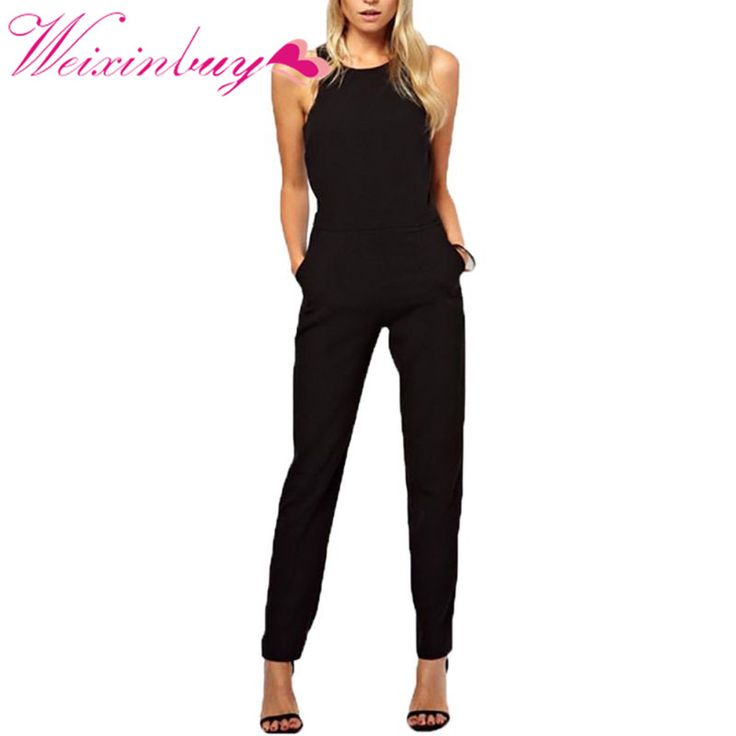 WEIXINBUY Summer Women Rompers Jumpsuit Solid Bodysuit Sleeveless Crew Neck Long Casual Playsuits Plus Size