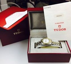Tudor by Rolex Geneva, Princess Oysterdate ladies-submariner watch, model 96093, automatic, 25 jewels, white face, date display, two tone stainless steel bracelet with deployment clasp, water resistant 200m, original box, comes with COA  http://www.lloydsonline.com.au/LotDetails.aspx?ItemID=332600  #jewellery #auction #pawn #gold #quality #luxury #diamonds #rings # #watches #art #goldjewellery #luxury #value #auctionhouse #pawnbank #lloydsonline #online #estatejewellery #Tudor #Rolex