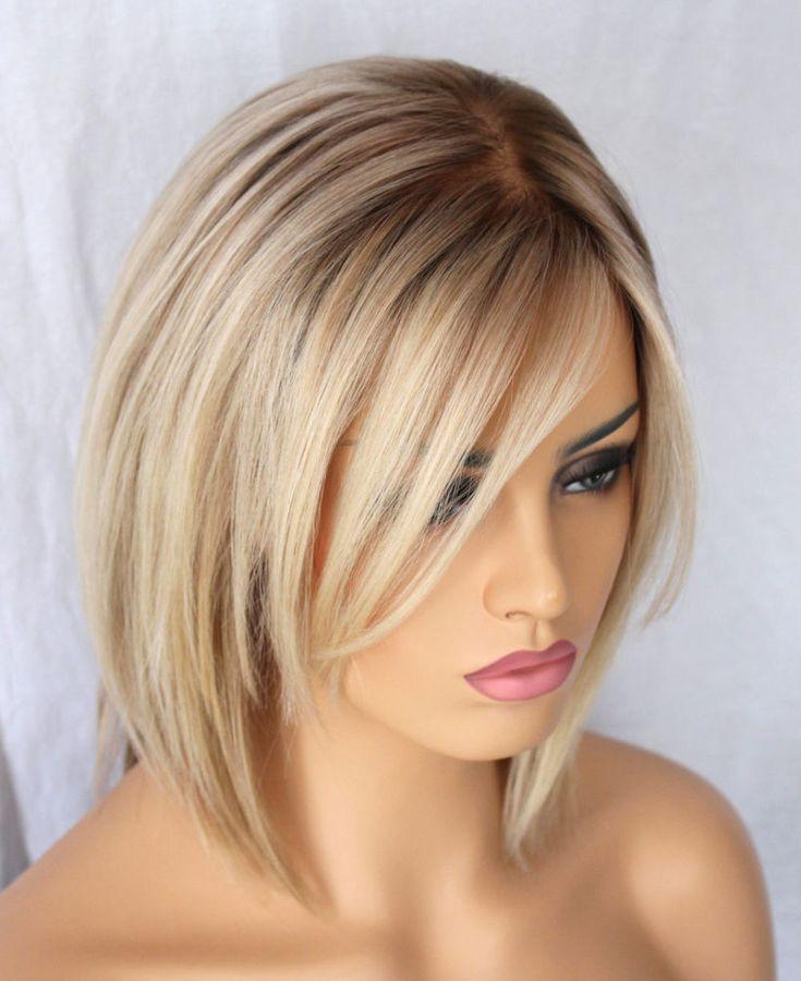 Details über heiße brasilianische kurze Bob Perücke blondes Menschenhaar Seide Basis volle Sp…