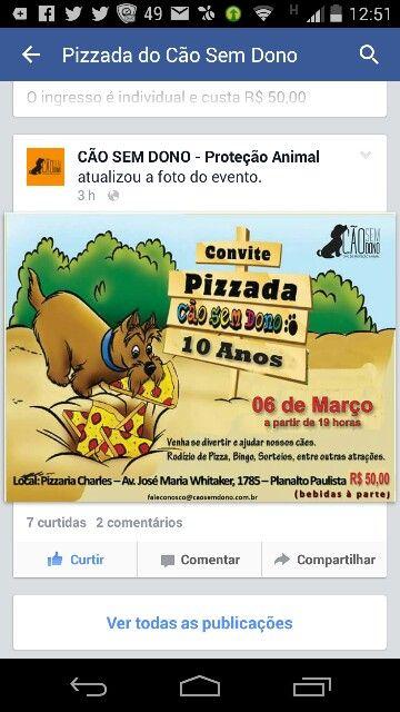 Galera, vamos comprar o convite e ajudar! Pizzada pra ajudar nossos aumiguinhos no Charles Pizzaria com a Ong do cão sem dono!