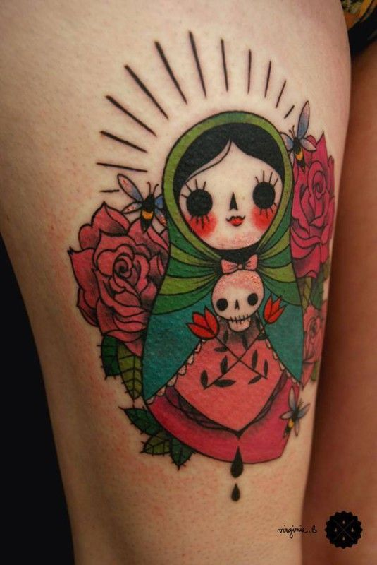 Pretty doll by Virginie B. russian doll tattoos