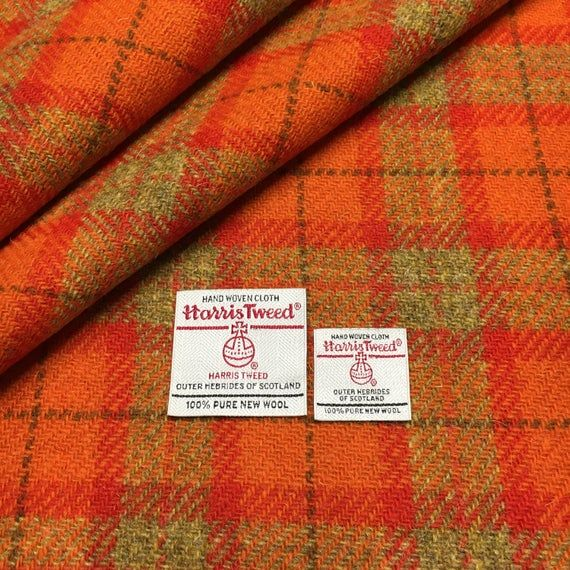 Red Plain Weave with Labels Harris Tweed Fabric Various Sizes