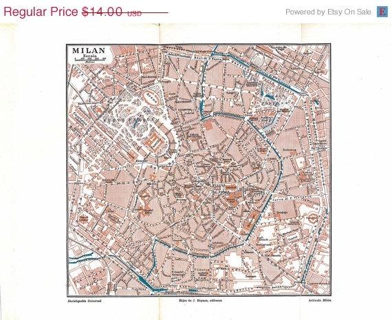 1920s Milan City Map Milano Italy.