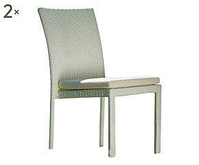 Set di 2 sedie con cuscini in polipropilene bianco - 48x90x62 cm
