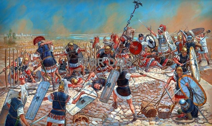 IGOR DZIS BATTLE PAINTING  The Battle of Thapsus on April 6  46 BC  46
