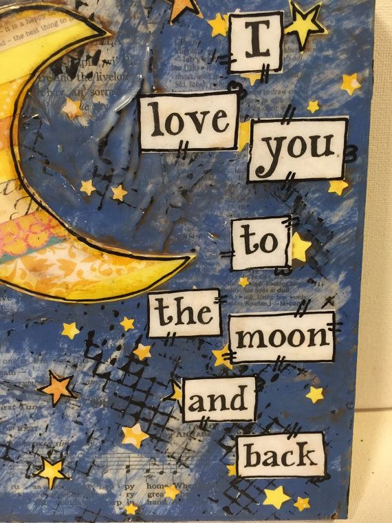 I love you to the moon and back painted sign, nursery art