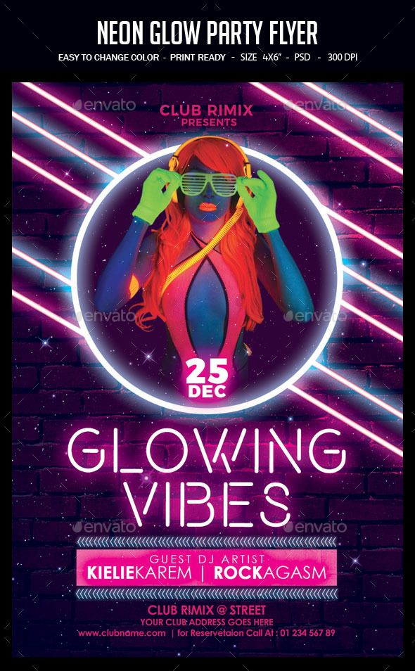 Neon Glow Party Flyer Glow Party Party Flyer Flyer