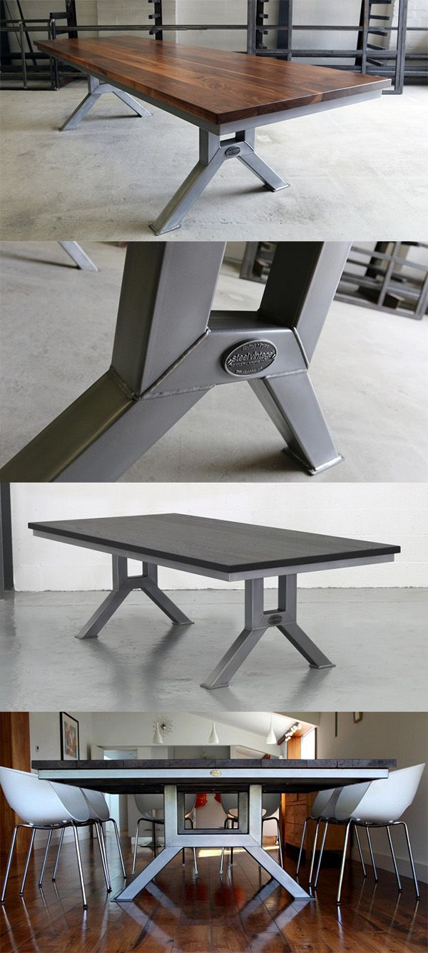 The Engineering Table (Model 2) - sturdy and beautiful industrial design. Solid construction available with an oak or walnut top