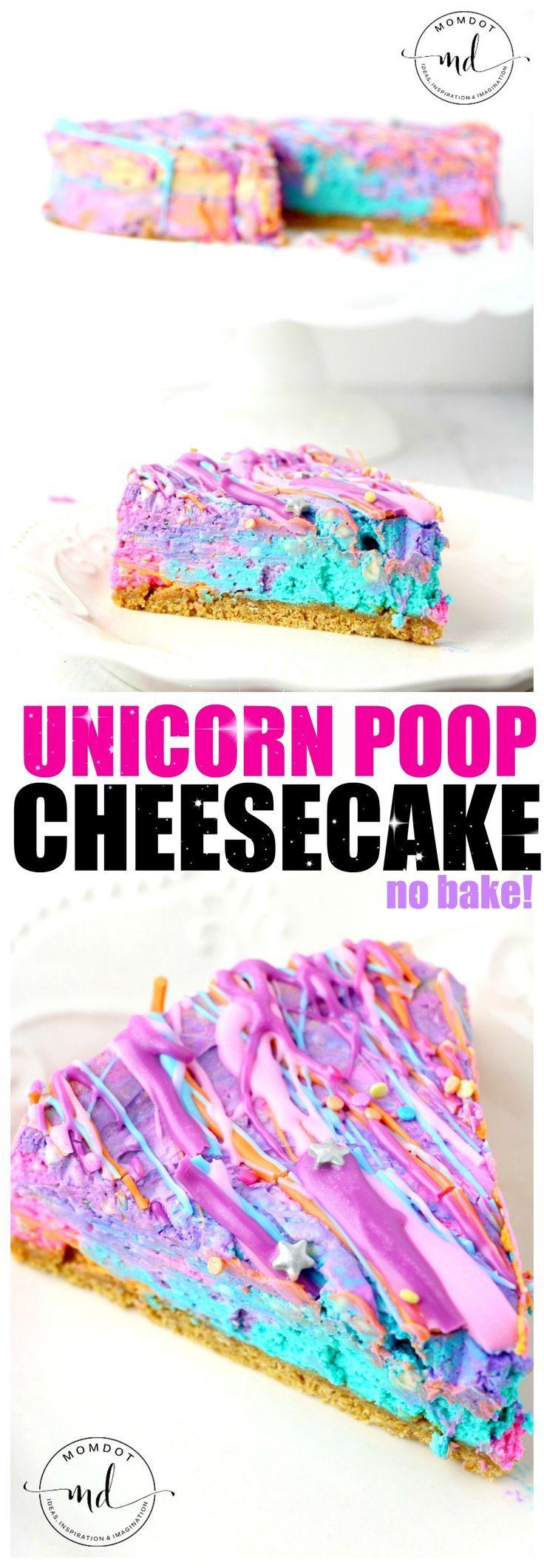 No Bake Unicorn Poop Cheesecake