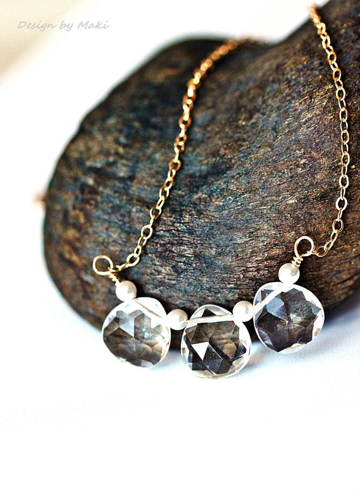 Trio of BriolettesCrystal Necklace, Rocks Crystals, Briolette, Crystals Necklaces, Necklaces Trio