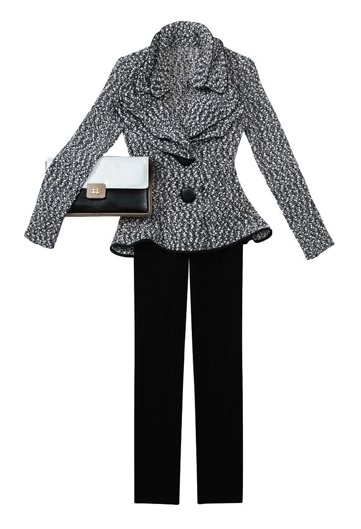Ruffle collared, nubby knit jacket and black trouser by Design Today. Jacket, $275.00. Trouser, $110.00. Due Fratelli color blocked clutch, $290.00. Crystal Boutique | 703.415.1400