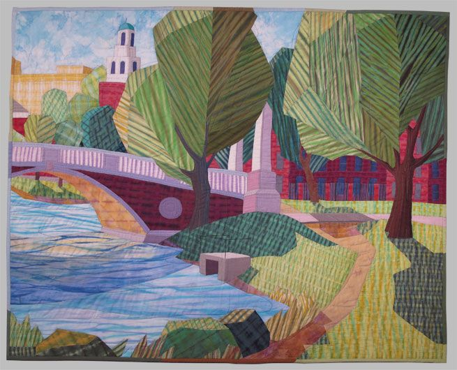 Summer Sonatina Quilt, Carole Groatin.  Excellent use of striped/shibori fabrics.